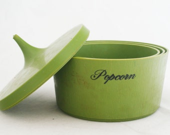 Snack Canisters - Collapsible Olive Green Party Hostess Plastic Round Containers