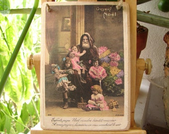 French Father Christmas,Victorian, Joyeaux Noel, Happy Christmas, tinted photo image, Pere Noel, children toys