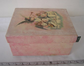 vintage pink painted card storage box with Victorian scrap of Christmas angels  on lid.