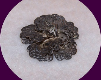 Vintage Estate Silver Layered, Filigree Rose Pin Made in Mexico.