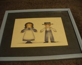 Framed Amish Folk