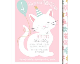 Cat Invitation, Pink, Cat Birthday Party, Printable or Printed