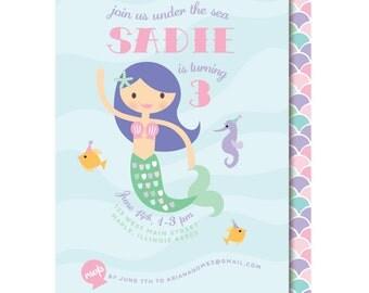 Mermaid Birthday Party Invitations - Ocean - Mermaid Birthday Invitation - Printed or Printable
