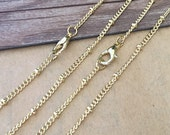 20pcs   3mm Pale gold color bead chain with lobster clasp  22 inche