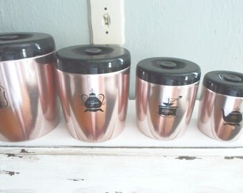 4 Piece Retro West Bend Anodized Aluminum Pink Copper Look Canister Set Kitchen Storage