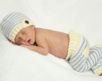 Crochet Pant and Hat Set, Baby Photography Props, Crochet Photography Props, Crochet Baby Pants