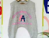RUN 1-2 Years Kids Childrens Onesie Onepiece Bodysuit Playsuit T Shirt Suit Upcycled Cotton Unisex