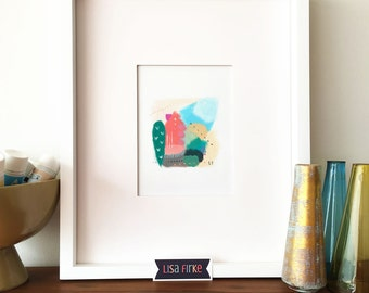 Colorful abstract landscape art print (tiny size)