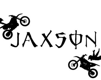 Personalized motocross  custom Name  vinyl decal wall art decor removable bedroom decal