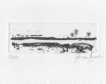 Miniprint in Black and White. Abstract Etching. Small Art. Printmaking Collection. Minimalist and Original Print. Abstract Landscape.