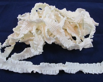 Ruffled Cream Colored Elastic Trim - 6 Yards