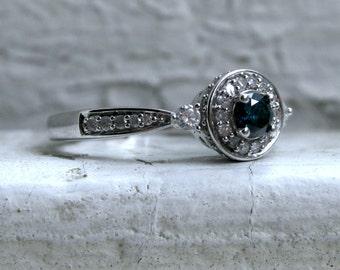 Vintage 14K White Gold Pave Diamond and Blue Diamond Halo Ring - 0.46ct.