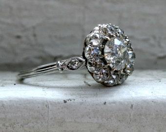 Vintage Platinum Round Cut Halo Diamond Engagement Ring - 2.00ct.