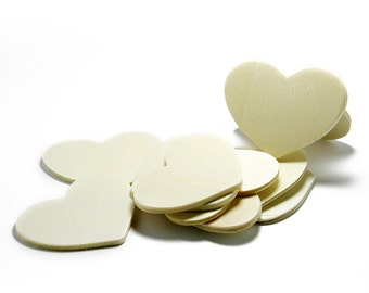 25 Wood Hearts - Cut at 3 3/8 inches wide by 2 1/2 inches tall and 1/8 inch thick  #H325
