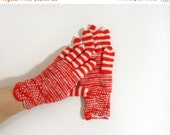 Hand Knitted Gloves - Red and White, Size Medium