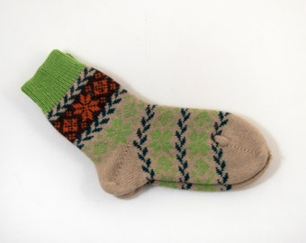 Knitted Wool Socks, Folk Pattern Socks - Beige and Green, Size Extra Large