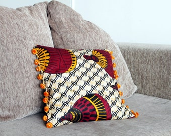 Indoor/outdoor pillows - african wax fabric and moroccan fringe- ethnic home decor- cushion covers - 14x14 - Ready to ship and made to order