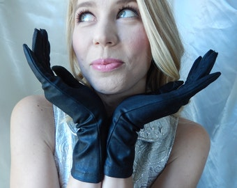 Long Black Gloves - Vintage Gloves - Stretchy Black Gloves - Soft Black Gloves - Black Formal Gloves