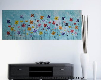 "64""  Original Large Abstract  Landscape Painting  Acrylic Painting Modern Art  Handmade by Carola, 64""x24"""