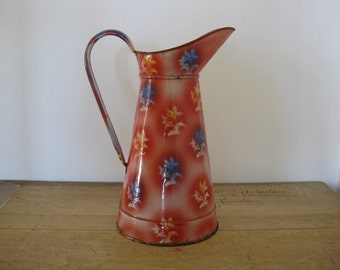 Red enamel pitcher with white and blue flowers, tall vintage French enamelware jug, French country home decor