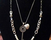 Silver double strand necklace (209)