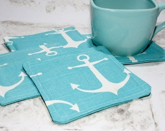 Blue & White Anchor Coasters, Set of 4