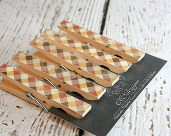 Brown Plaid Clothespin Magnets, Set of 5
