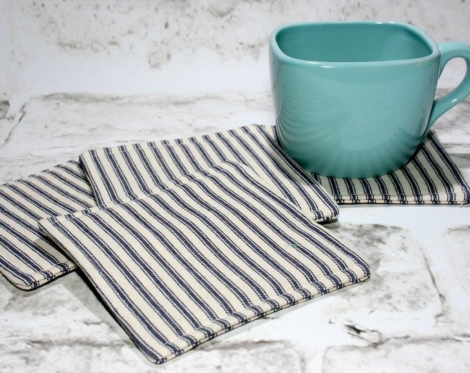 Featured listing image: Blue & White Ticking Coasters, Set of 4