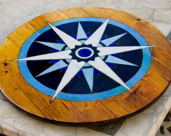 Nautical Compass Rose Lazy Susan