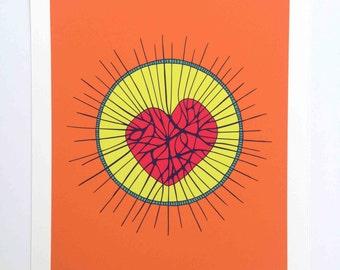 Love Magic Archival Giclee Art Print in Orange