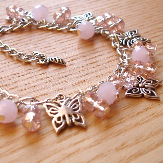 Charm Bracelet - Soft Pale Pink Butterfly - Unique Sister Birthday Gift - Nature Lover - Summer Fashion Jewellery 16th 18th 21st 20 30 40