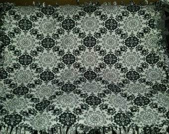Black and Gray Floral Medallion Fleece Tie Blanket