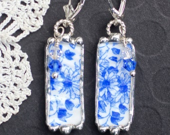 Earrings, Broken China Jewelry, Broken China Earrings, Blue and White Floral, Sterling Silver Lever Back Earrings