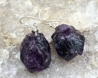 Dark purple rough AMETHYST stone crystal sterling earrings