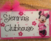 Minnie Mouse personalized room sign kids decor disney wooden Pink Clubhouse