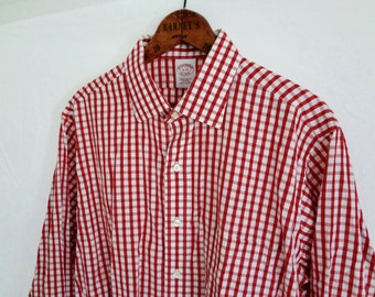 Christmas Gingham Men's Shirt Vintage Brooks Brothers Collared Checkered Red an White