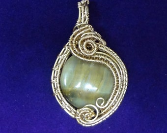 Honey Blue Tigers Eye Pendant Wire Woven and Wrapped in Gold Low Tarnish Craft Wire
