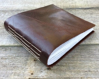 Leather journal // small guestbook // sketchbook // wedding guest book by moon and hare