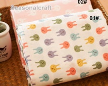 Pastel Pink Bunny Fabric, Little Cartoon Rabbit Cotton Fabric, Baby Kids Girl's Quilting Fabric - 1/2 yard (QT695)