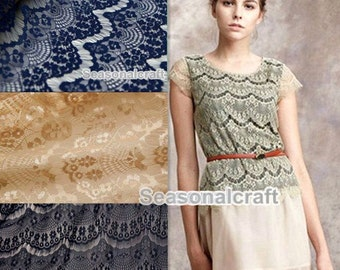 1 yard eyelashes paragraph clothing lace fabric, Embroidery,Wedding,Polyester Mesh,Cotton stretch fabric (W136)