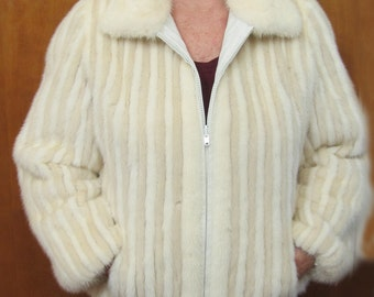 Gorgeous Reversable White Mink and White Leather Jacket