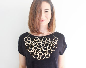 Signature statement necklace - large wooden necklace - large statement jewellery - costume jewellery