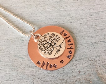 Copper Hand Stamped Necklace. Family Names. Family Tree. Custom. Personalized-Grandchildren. Mom. Aunt. Grandma. Mother's Day Gift.