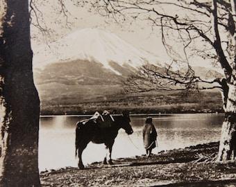 Japanese landscape vintage photo set / retro sepia photos / Mount Fuji photo set / iconic Japan landscape / ephemera for fine art project