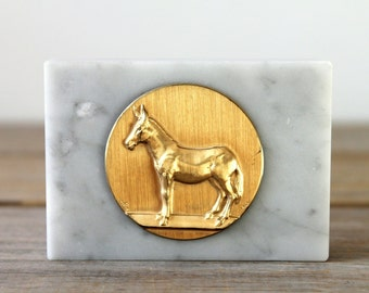Mule Italian marble vintage trophy paperweight / retro style home decor / retro desk decor / office decor / gold color donkey / marble base