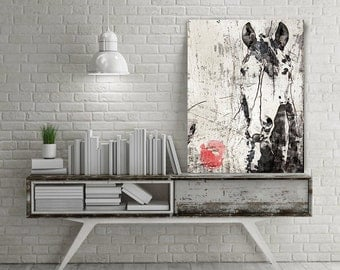 "French Kiss Horse. Extra Large Horse, Unique Horse Wall Decor, Black White Rustic Horse, Large Canvas Art Print up to 72"" by Irena Orlov"