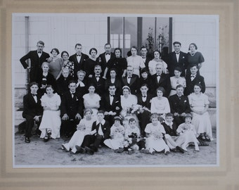 Original French 1930's or  1940's Large Sepia or Black and White Wedding Photograph Photo: Vintage Bridal Party