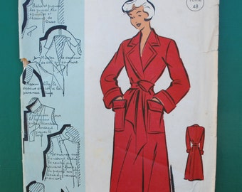 """Vintage French Original Sealed Unopened Sewing Pattern 1950's Patron Modèle Ladies Dressing Gown Robe Peignoir  Bust 41"""" #101119"""