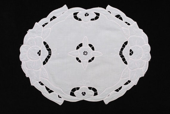 Vintage French pure cotton embroidered tray cloth doily in palest pink - free worldwide shipping!