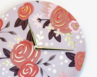 Wall Clock, Floral Gold Foil Decor, Home and Living, Home Decor, Clocks